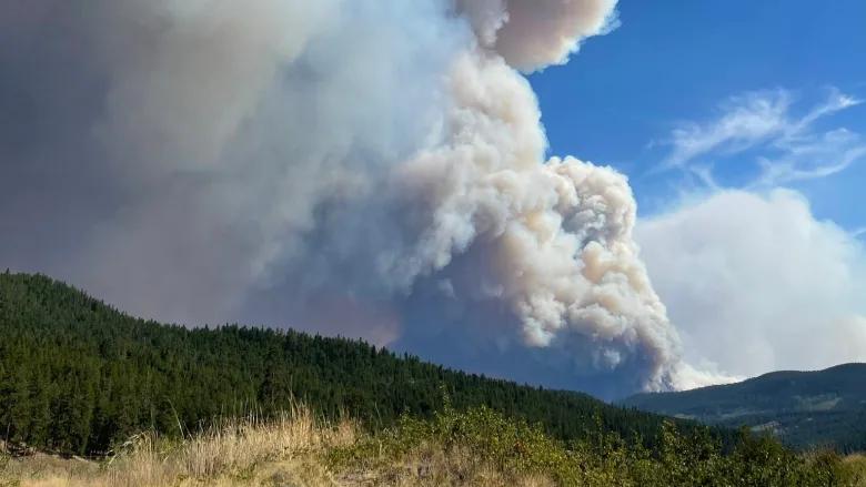 Khói từ đám cháy rừng ở BC khu vực Hồ Đá Trắng