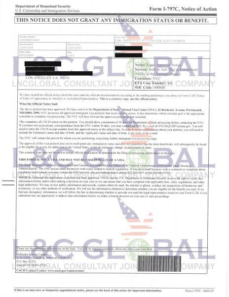 khách hàng thực hiện hồ sơ EB2 NIW thành công Hồ T T